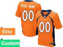 Mens Denver Broncos Custom Made Orange Elite Jersey