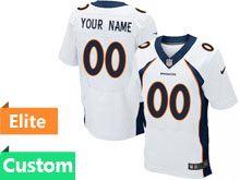 Mens Denver Broncos Custom Made White Elite Jersey