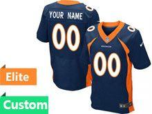 Mens Denver Broncos Custom Made Blue Elite Jersey