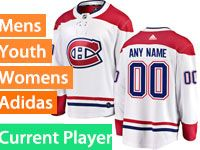 Mens Women Youth Adidas Montreal Canadiens White Away Current Player Jersey