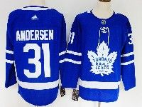 Mens Nhl Toronto Maple Leafs #31 Frederik Andersen  Blue Home Adidas Jersey