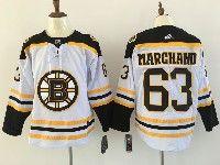 Mens Nhl Boston Bruins #63 Brad Marchand White Away Adidas Jersey
