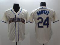 Mens Mlb Seattle Mariners #24 Ken Griffey Jr Cream Cool Base Jersey