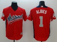 Mens Atlanta Braves #1 Ozzie Albies 2018 Mlb All Star Game National League Red Cool Base Jersey