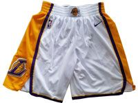 Mens Nba 2017-18 Season Los Angeles Lakers White Nike Shorts