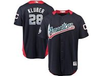 Mens Cleveland Indians #28 Corey Kluber 2018 Mlb All Star Game American League Navy Cool Base Jersey