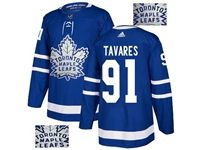 Mens Adidas Nhl Toronto Maple Leafs #91 John Tavares Blue Fashion Gold Lace Embroidery Jersey