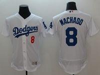 Mens Mlb Los Angeles Dodgers #8 Manny Machado White Flex Base Player Jersey