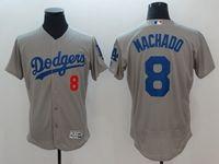 Mens Mlb Los Angeles Dodgers #8 Manny Machado Gray Flex Base Player Jersey