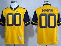 Mens Ncaa Nfl Virginia Mountaineers Custom Made Yellow Game Jersey