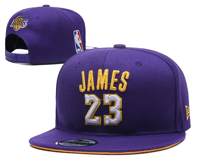 Mens Los Angeles Lakers Purple #23 Lebron James Adjustable Snapback Hats