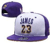 Mens Los Angeles Lakers White Purple #23 Lebron James Adjustable Snapback Hats