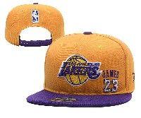 Mens Los Angeles Lakers Gold Purple #23 Lebron James Adjustable Snapback Hats