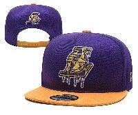 Mens Los Angeles Lakers Purple Gold La Adjustable Snapback Hats