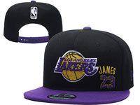 Mens Los Angeles Lakers Black Purple #23 Lebron James Adjustable Snapback Hats