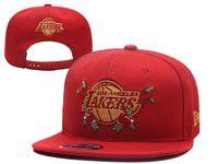 Mens Los Angeles Lakers Red Flower Adjustable Snapback Hats