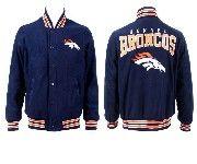 Mens Nfl Denver Broncos Dark Blue Heavyweight Embroidered Jacket