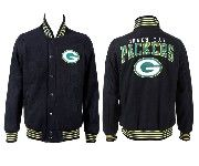 Mens Nfl Green Bay Packers Black Heavyweight Embroidered Jacket