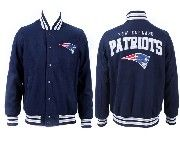 Mens Nfl New England Patriots Dark Blue Heavyweight Embroidered Jacket