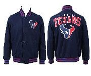 Mens Nfl Houston Texans Dark Blue Heavyweight Embroidered Jacket