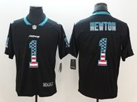 Mens Carolina Panthers #1 Cam Newton 2018 Usa Flag Fashion Black Vapor Untouchable Limited Jersey