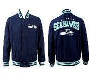 Mens Nfl Seattle Seahawks Dark Blue Heavyweight Embroidered Jacket