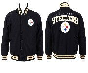 Mens Nfl Pittsburgh Steelers Black Heavyweight Embroidered Jacket