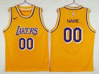 Mens Nba Los Angeles Lakers Custom Made Nike Purple Number Swingman Gold Jersey