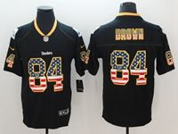 Mens Pittsburgh Steelers #84 Antonio Brown 2018 Usa Flag Fashion Black Vapor Untouchable Limited Jersey