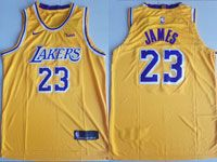 Mens Nba Los Angeles Lakers #23 Lebron James Nike 2018-19 Authentic Gold Jersey