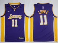 Mens Nba Los Angeles Lakers #11 Brook Lopez Nike Swingman Purple Jersey