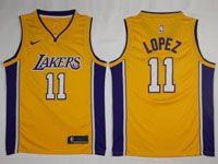 Mens Nba Los Angeles Lakers #11 Brook Lopez Nike Swingman Gold Jersey