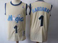 Mens Nba Orlando Magic #1 Mcgrady Cream Mitchelland Ness Swingman Hardwood Classics Mesh Jersey