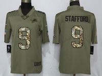 Mens Nfl Detroit Lions #9 Matthew Stafford Olive Camo Carson 2017 Salute To Service Limited Jersey