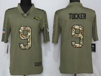 Mens Nfl Baltimore Ravens #9 Justin Tucker Luck Olive Camo Carson 2017 Salute To Service Limited Jersey