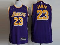 Mens Nba Los Angeles Lakers #23 Lebron James Nike 2018-19 Swingman Purple Jersey