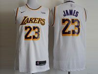 Mens Nba Los Angeles Lakers #23 Lebron James Nike 2018-19 Swingman Yellow Jersey